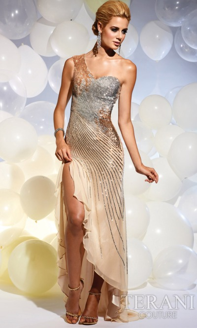 Terani One Shoulder Beaded Prom Dress P629: French Novelty
