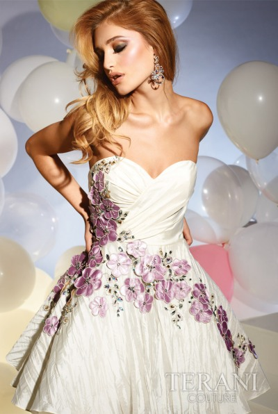 Terani Short Prom Dress with Flowers P659: French Novelty