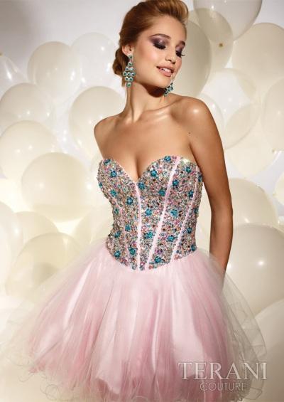 Terani Beaded Short Prom Party Dress P677: French Novelty