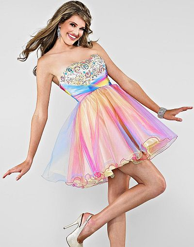 release date: limited price on feet at Cire by Landa Short Rainbow Tulle Party Prom Dress PE237