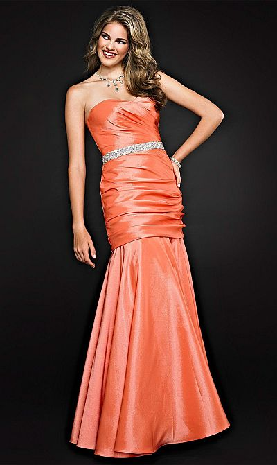 Size 8 Orange Cire by Landa Shimmer Satin Prom Dress PE244 image