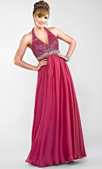 Cire by Landa Deep V Neck Halter Prom Dress PE246: French Novelty