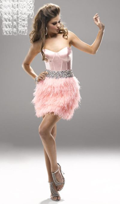 Flirt Pf5109 Short Homecoming Dress With Corset Bodice And Feathers