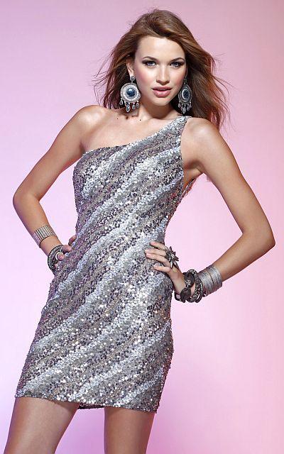 Scala Diagonal Beaded Pattern One Shoulder Short Prom Dress Q1046