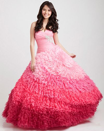 Allure Bridals Ombre Ruffle Quinceanera Dress Q349 French