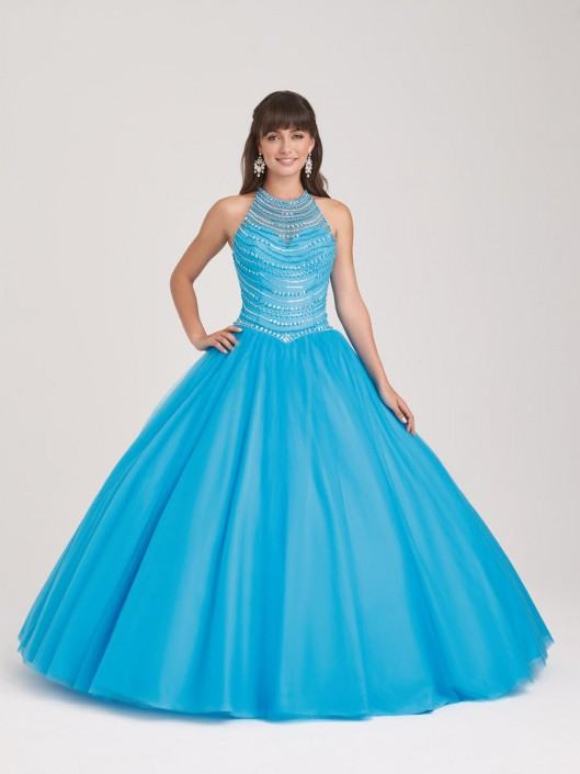 Allure Quinceanera Q503 High Neck Beaded Ball Gown: French Novelty