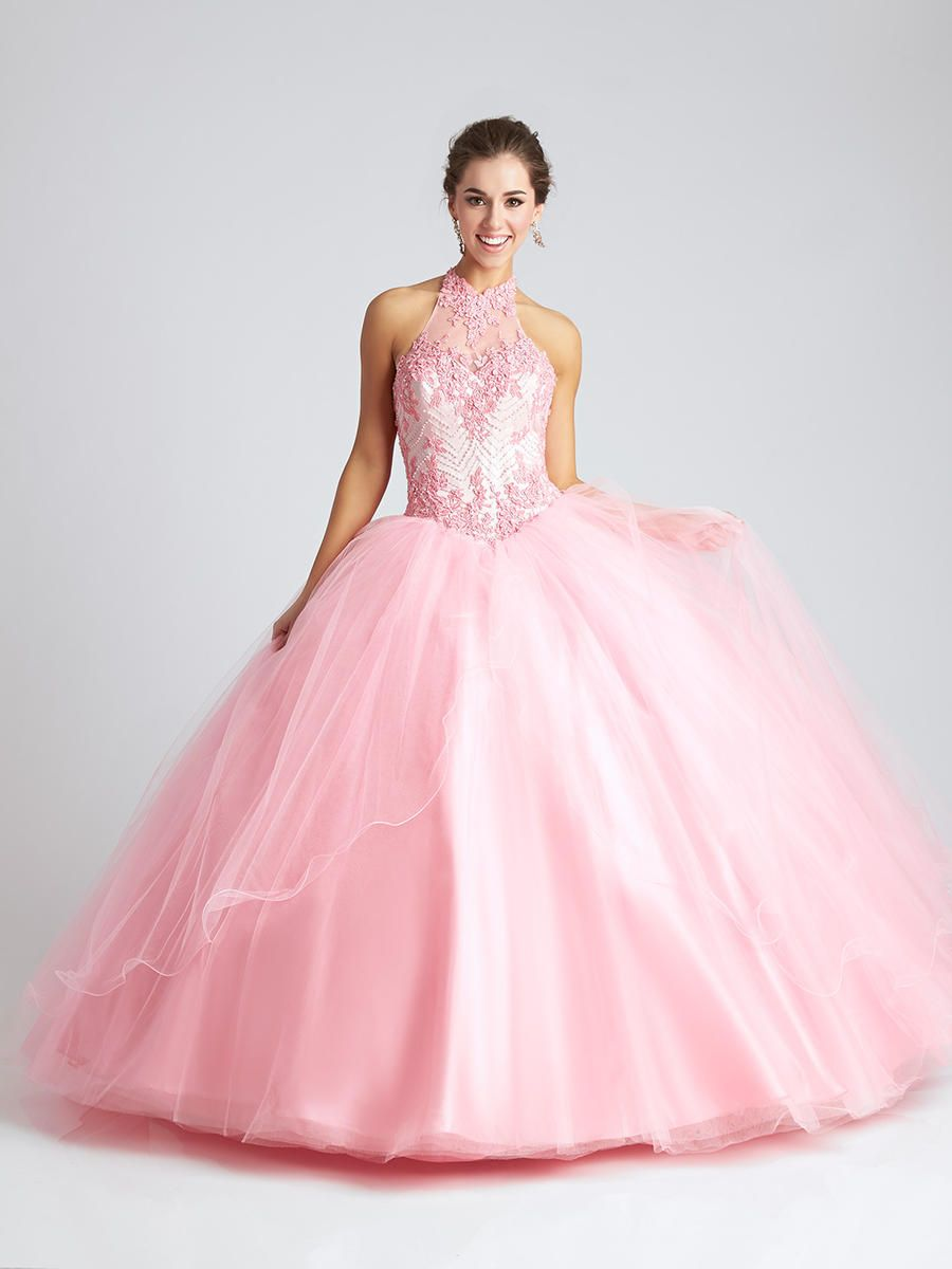 Allure Q542 Sheer Neck Quinceanera Dress French Novelty