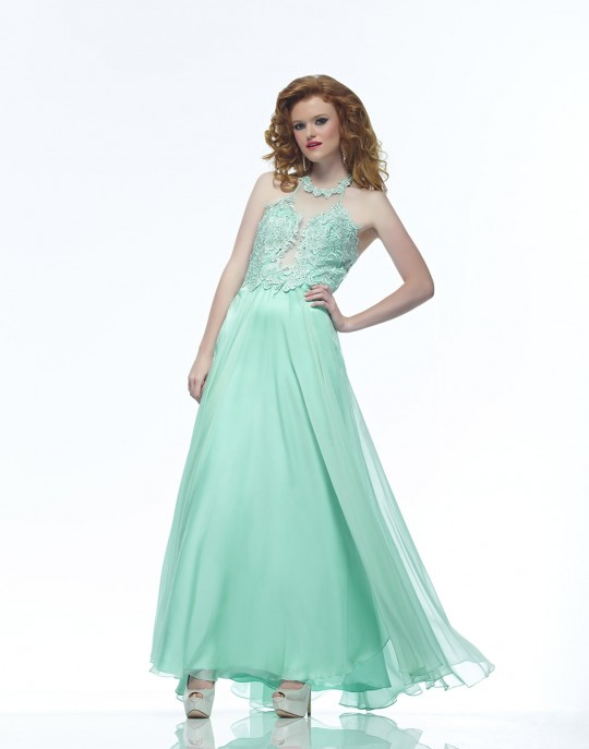 Riva Designs R7427 Halter Lace Prom Dress: French Novelty