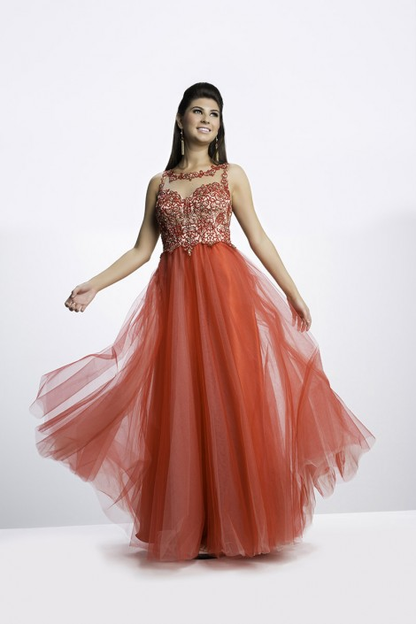 Riva Designs R7467 Illusion Prom Dress: French Novelty