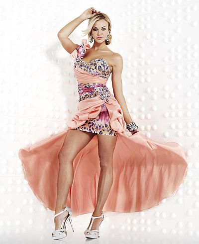 This style has been discontinued by the designer and is no longer    Peach Prom Dress High Low