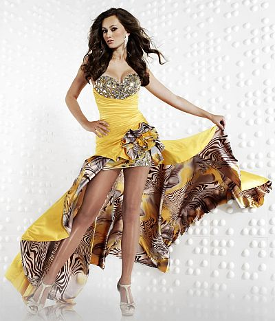 Riva Designs Sunflower Satin Print High Low Prom Dress R9456: French ...