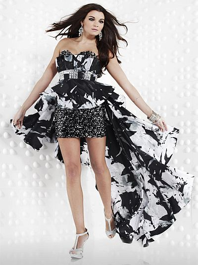 Riva Designs Onyx Pearl High Low Prom Dress R9474: French Novelty