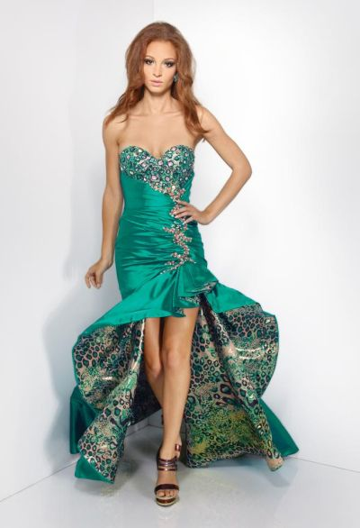 Riva R9568 Satin High Low Animal Print Lined Party Dress: French ...