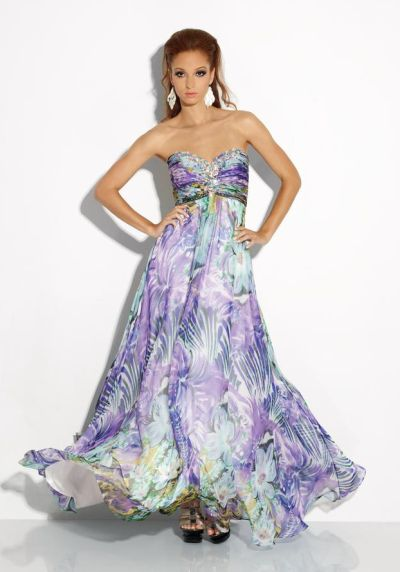 Riva R9614 Floral Print Evening Dress French Novelty