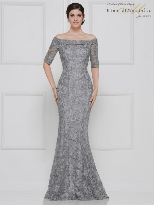 0bed26a949a Rina Di Montella RD2632 Trendy Lace Mother of Bride Dress  French Novelty