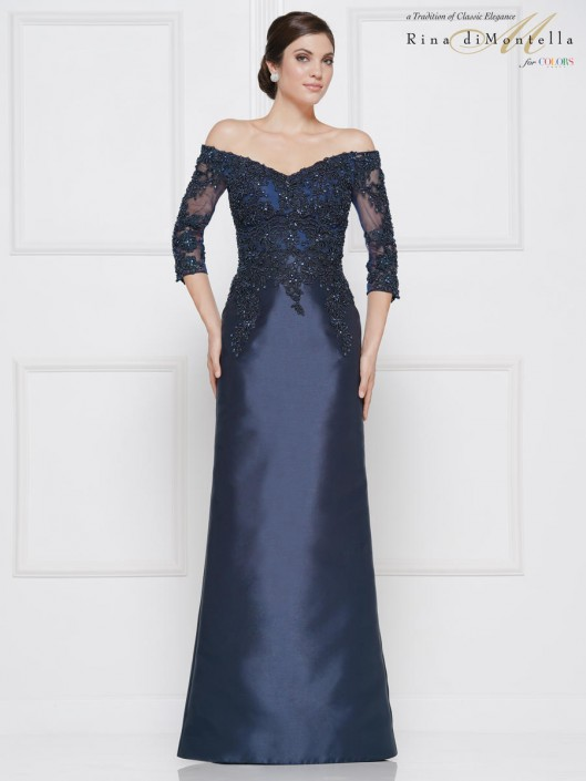 Rina Di Montella RD2642 Off Shoulder Mother of Bride Dress