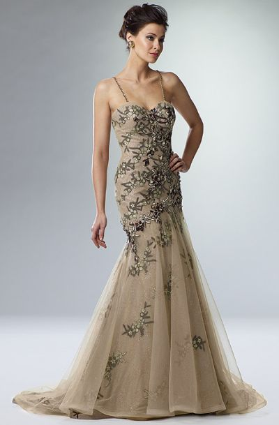 Rina di Montella Champagne Gold Beaded Tulle Evening Dress RS1380 ...