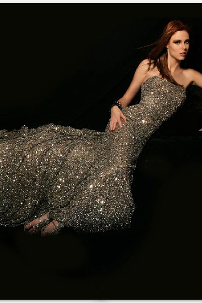 BG Haute Fully Beaded Platinum Evening Gown C01015: French Novelty