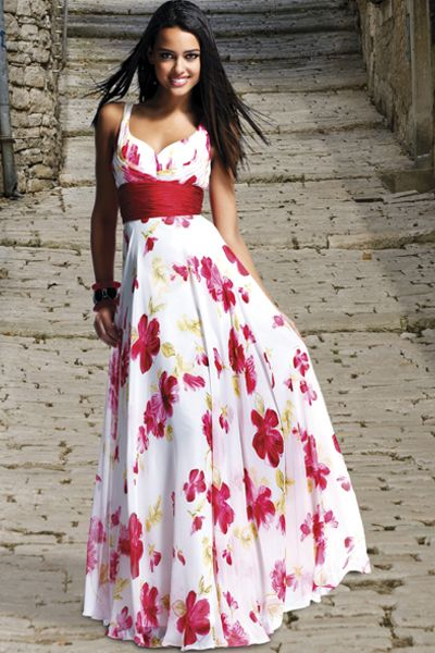 Red Floral Evening Dress