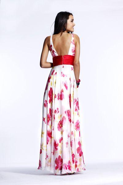Bg Haute White Red Floral Evening Dress C20012 French Novelty