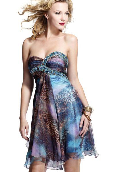 BG Haute Blue Brown Leopard Print Silk Short Prom Dress C22078 image