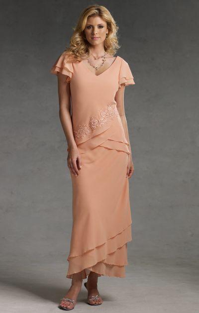 Short Sleeve Tea Length Capri By Mon Cheri Evening Dress