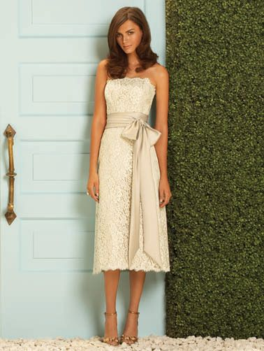 Lace Tea Length Dessy Collection Bridesmaid Dress 2053: French Novelty