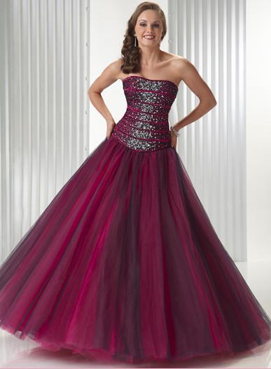 Flirt Strapless Beaded Ribbon Prom Dress Tulle Ball Gown P1424 image