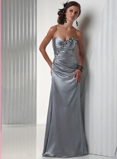 Flirt Asymmetrically Beaded Ruched Slim A-Line Prom Dress P1448 image