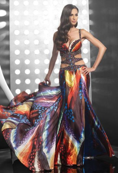 Jasz Couture Open Sides  Multi Print Prom Dress 4109 image