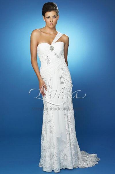 Paisley Floral Sequin Destination Bridal Dress D351 By Landa