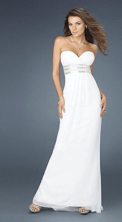 White Beaded Waist Evening Dresses By Gigi 30