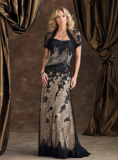 Lace Formal Evening Dress with Bolero Jacket 110944: French Novelty