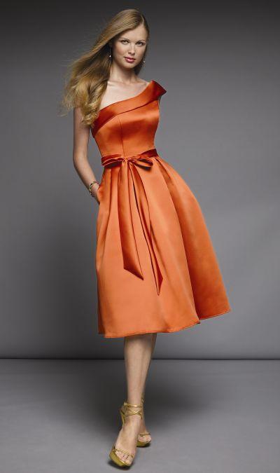 One shoulder satin tea length mori lee affairs bridesmaid for One shoulder tea length wedding dress