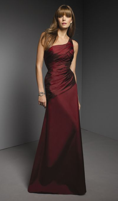 One shoulder long taffeta mori lee bridesmaid dress 264 for Mori lee taffeta wedding dress