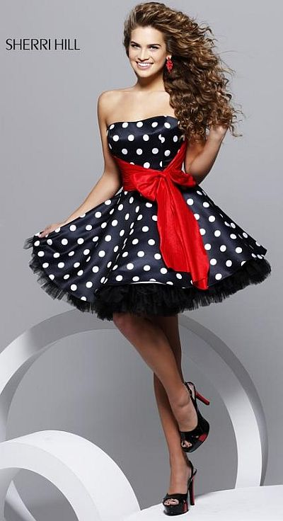 Black  White Bridesmaids Dresses on Hill Black And White Polka Dot Short Prom Party Dress 2227 Image