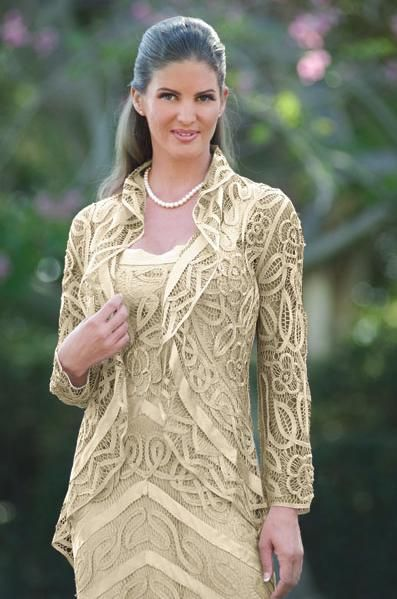 d506de35997 Soulmates Silk Crocheted 2pc Mother of the Bride Jacket Dress D7069  French  Novelty