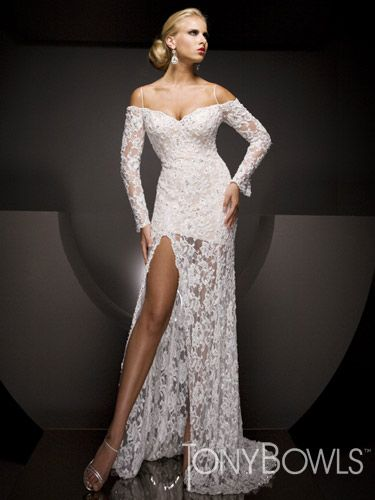 White Beaded Lace Tony Bowls Collection Pageant Dress
