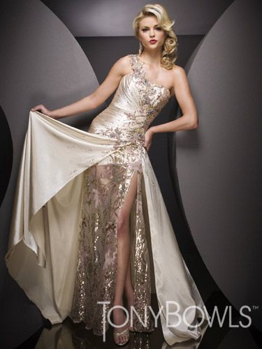 Gold One Shoulder Tony Bowls Evenings Dress Tbe11073