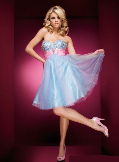 Tony Bowls Shorts Light Blue Pink Party Dress 110570: French Novelty