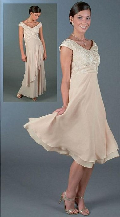 b35fdece62c Ursula Tea Length Cap Sleeve Chiffon Cocktail Dress 11076  French Novelty