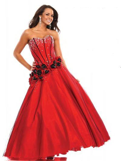 Wow Red Black Corset Rosettes Ball Gown 1081 French Novelty