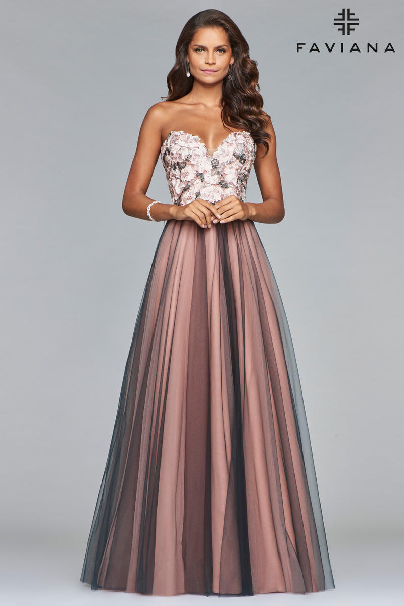 Faviana Glamour S10023 Floral Tulle Prom Gown French Novelty
