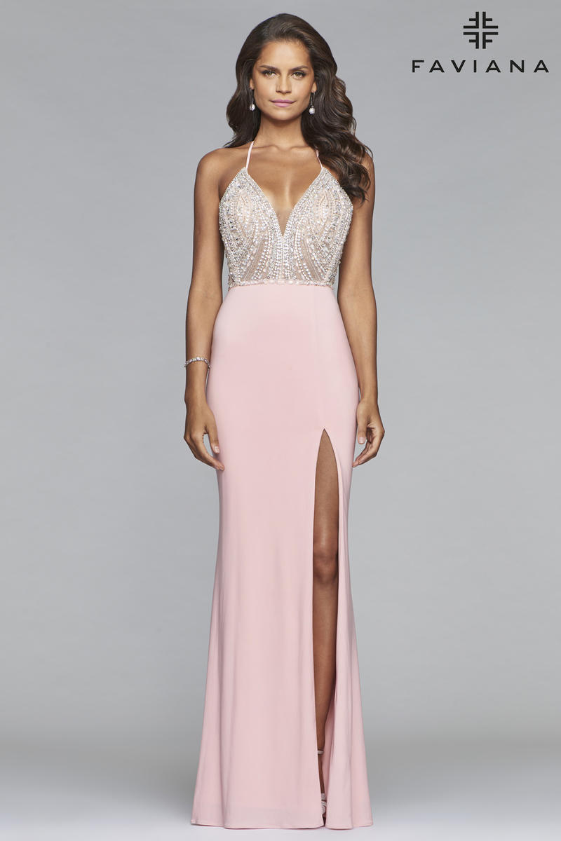 Faviana Glamour S10060 Beaded Lace Up Back Gown: French ... - photo #4