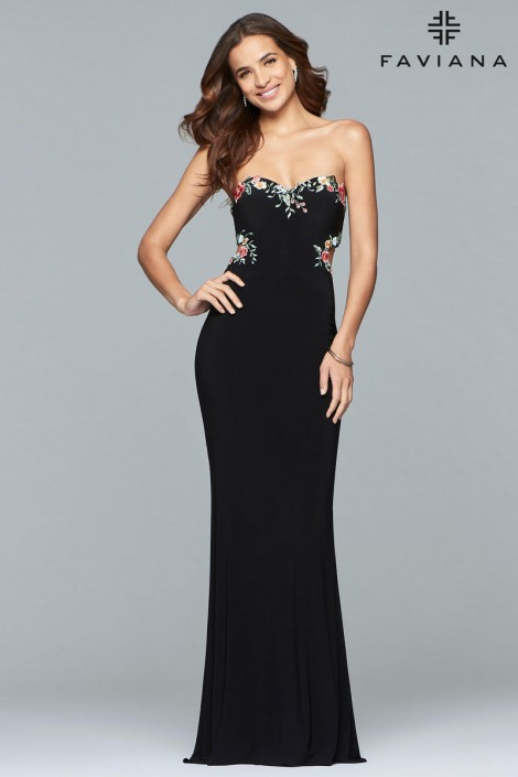 2987e20200a6 Faviana Glamour S10064 Prom Gown with Floral Back: French Novelty