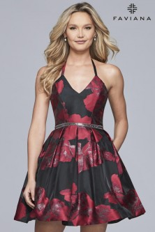 f1daf4728b Faviana Glamour S10157 Floral Halter Short Party Dress
