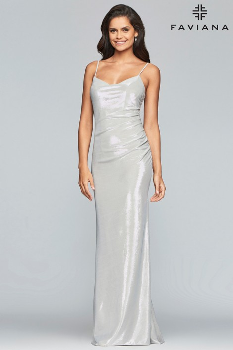 Faviana Glamour S10256 Cowl Neck Metallic Prom Dress French Novelty