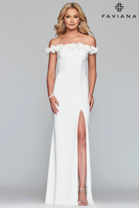 fe740407ef4 Faviana Glamour S10297 Flower Off Shoulder Prom Dress  French Novelty