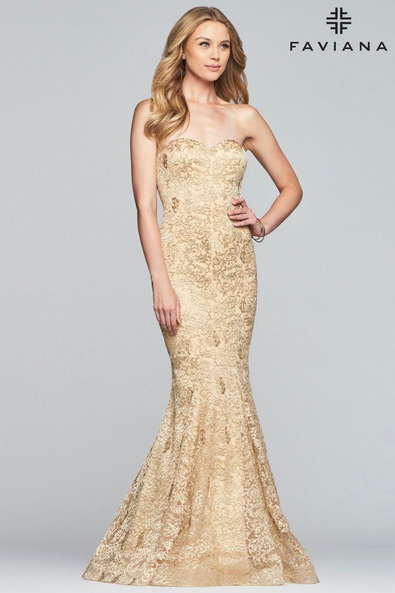 Faviana Glamour S10305 Metallic Embroidered Mermaid Dress
