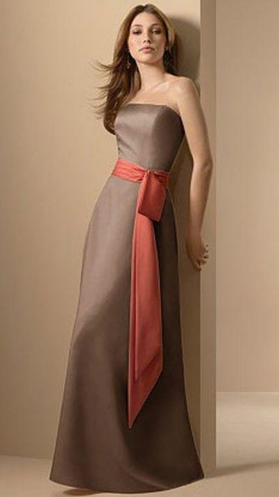 Alfred Angelo Two Tone Long Satin Bridesmaid Dress 6540